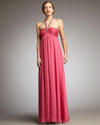 Beaded-halter Gown