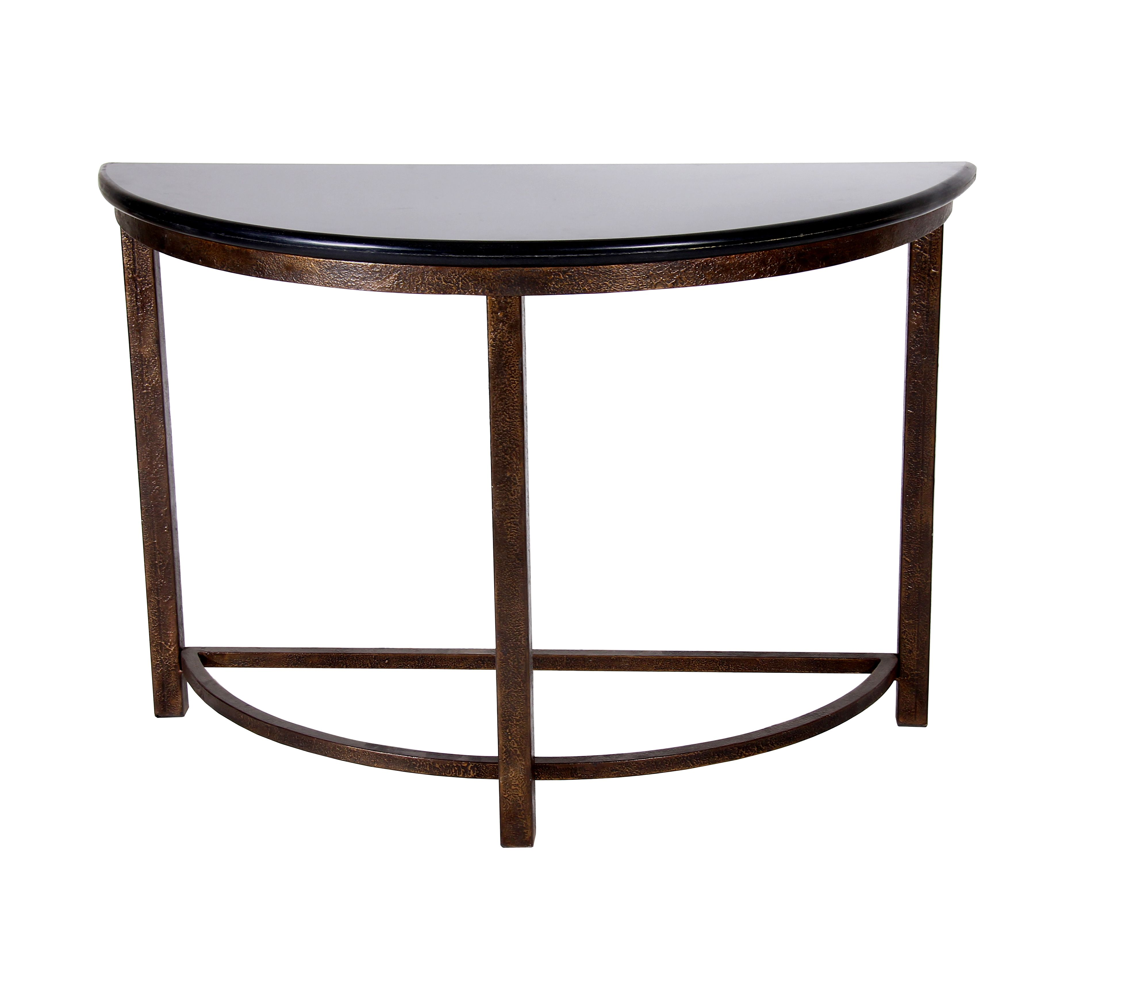 Semicircle Metal Console Table With Marble Top Half Moon Table