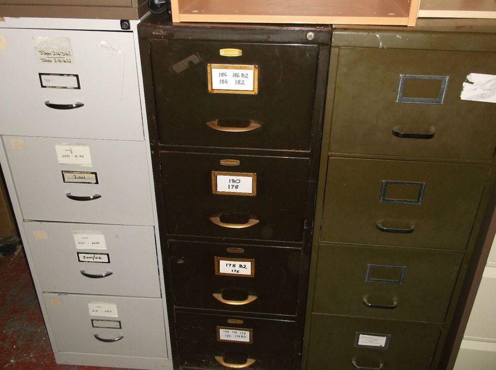 Retro Vintage Filing Cabinet Grey Brown