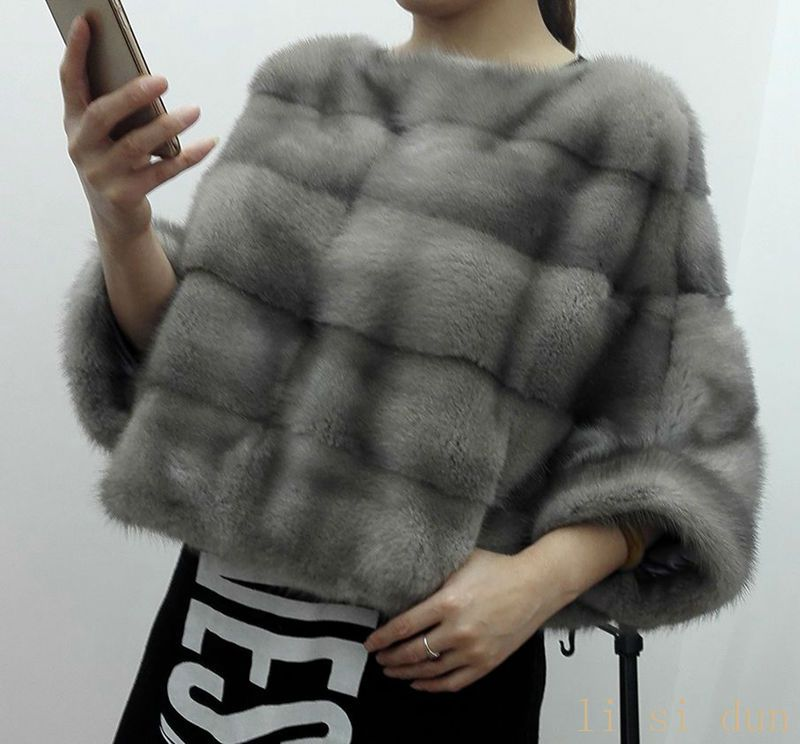 lisidun2016full Pelt Real Mink Fur coat female Tendency Batwing Sleeve Outwear Coats Genuine Mink Fur Pullover Women's Clothes