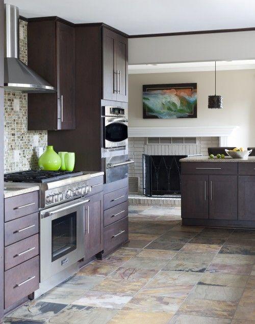 espresso cabinets slate floor decor kitchen flooring slate rh pinterest com