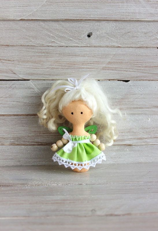 Mini Doll, rag doll, child friendly, green fairy, doll in green dress, textile doll, doll with white hair, gift for Christmas  A doll is about 4 inches