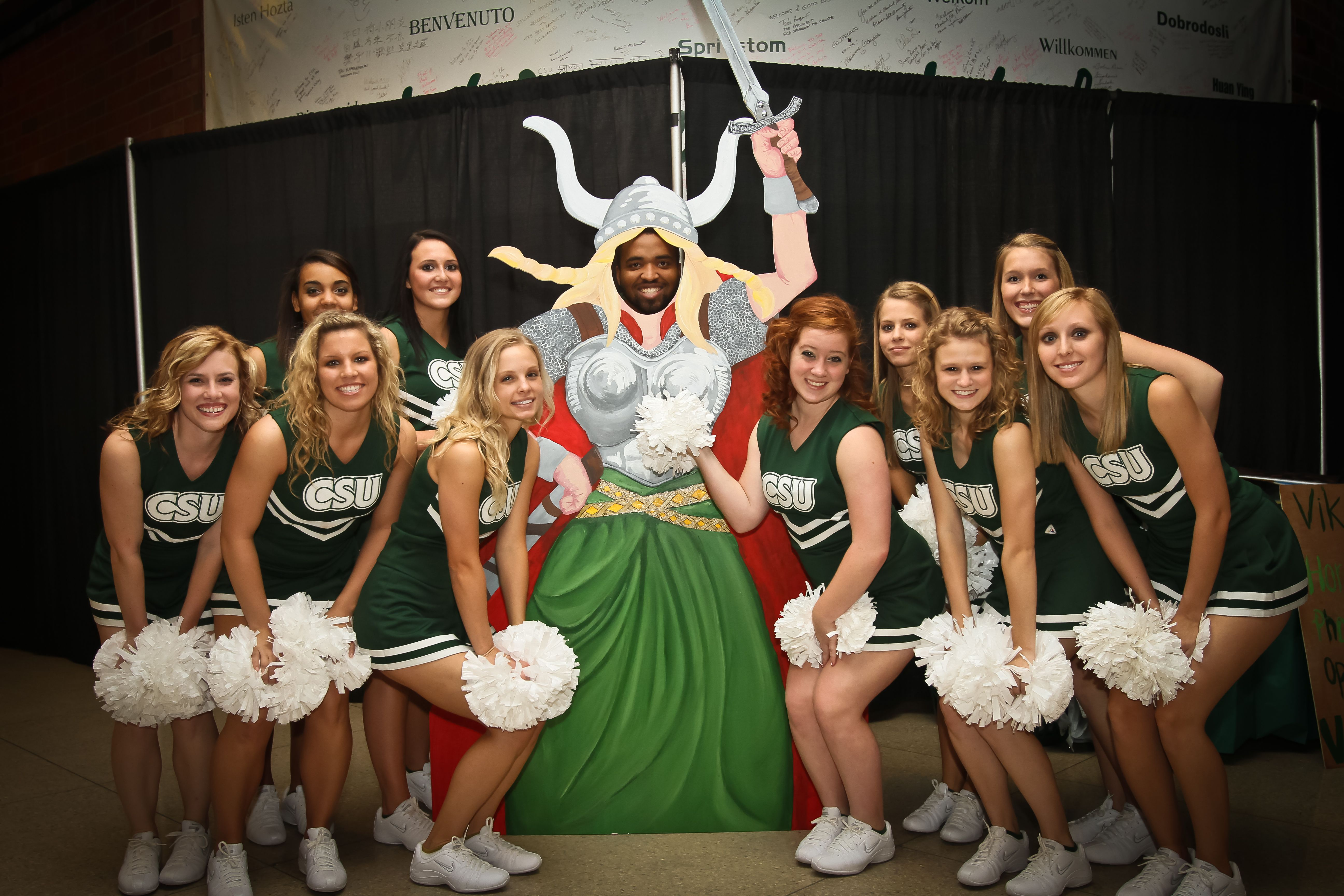 A Viking basketball fan clowns around with Cleveland State ...