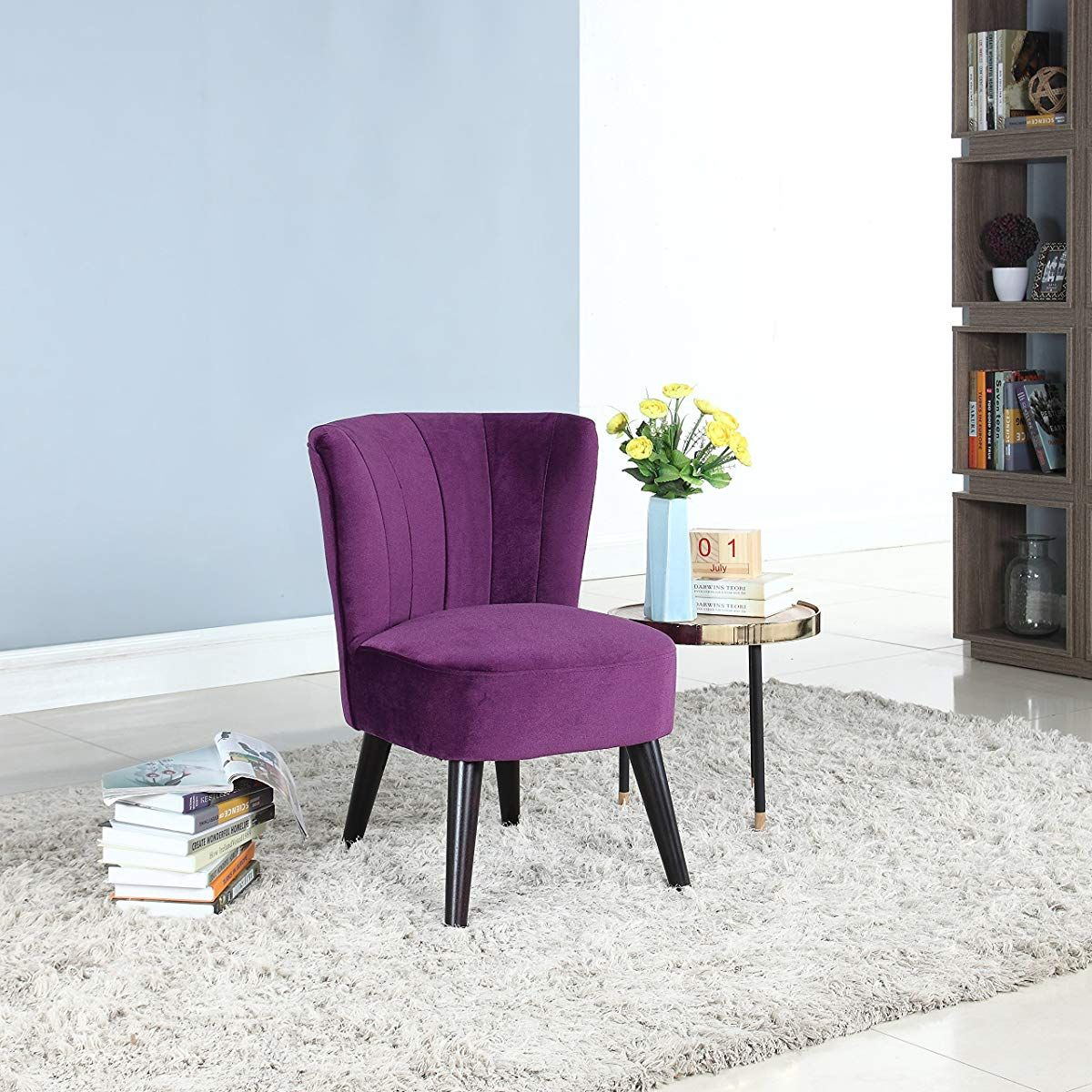 Living Room Velvet Fabric Accent Chair Purple Velvet Accent
