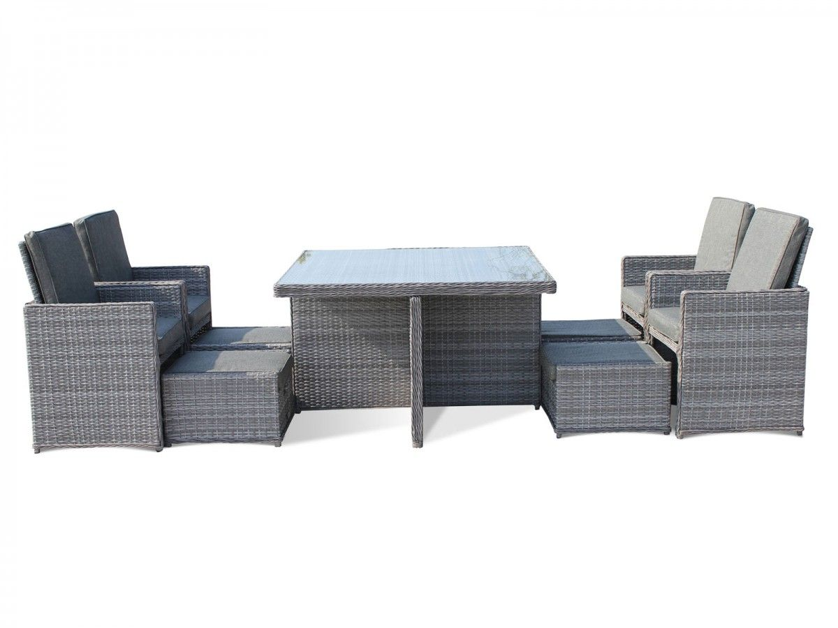 barcelona 9 piece rattan garden cube set in grey garden rattan rh pinterest co uk