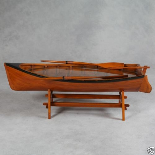 Vintage Style Wooden Rowing Boat Coffee Table With Oars