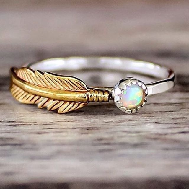 M E R M A I D 🐚 Opal and Feather Ring 💛 Available in our 'Mermaid' Collection ✨ www.indieandharper.com