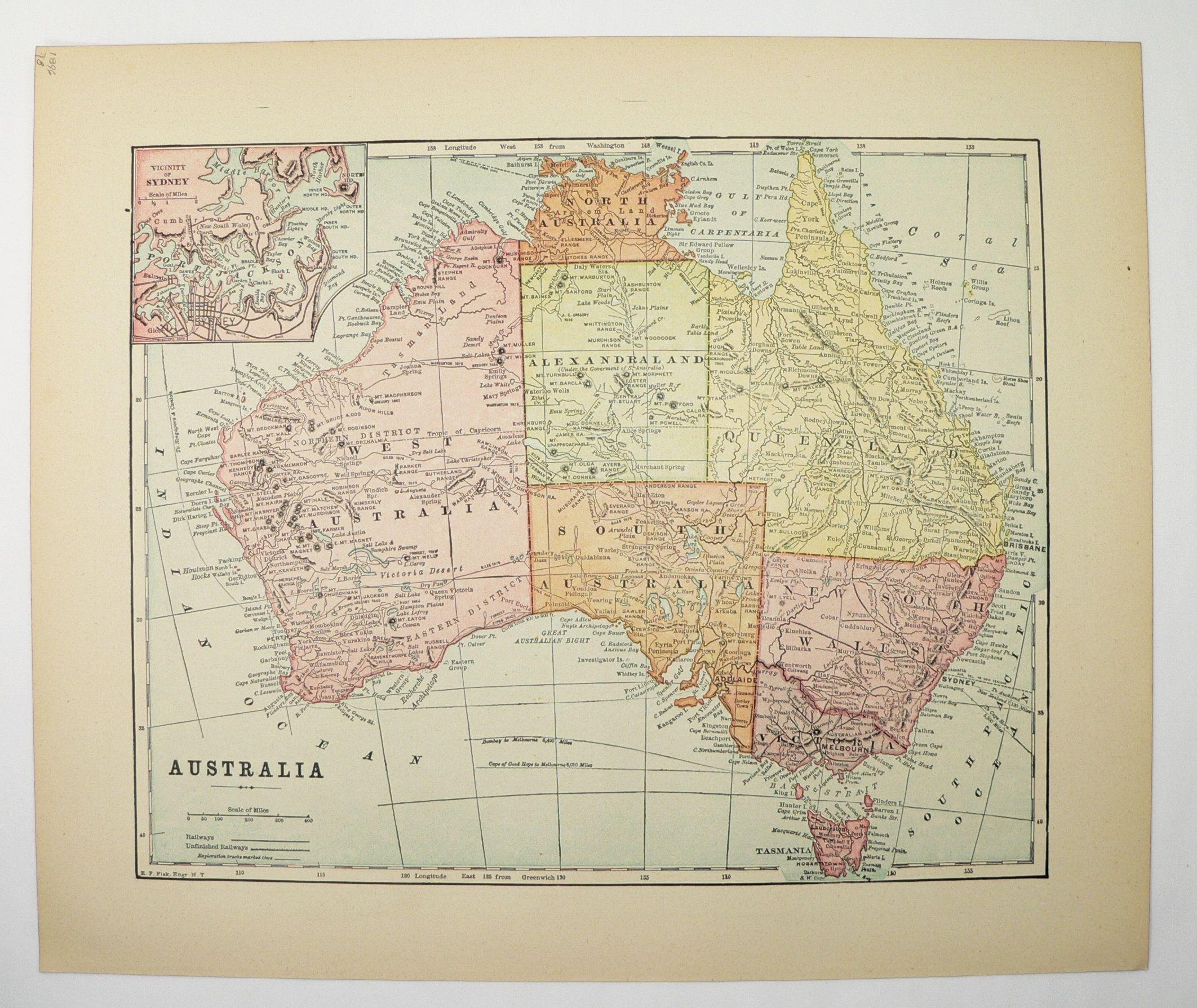 Antique Australia Map 1896 Vintage Map Of Australia Gift