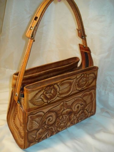 Tooled Leather Western Purse Vintage Hand Tan Roses Mexico