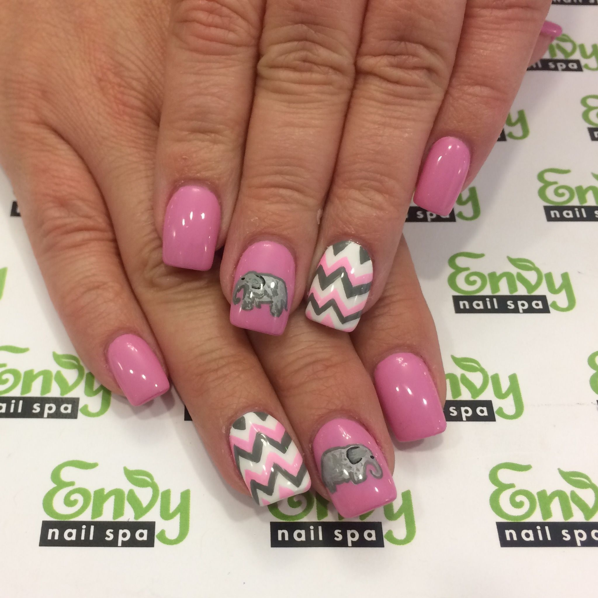 Elephant, Zigzag, Pink, White, Grey Nails - Envy Nail Spa | Misc ...