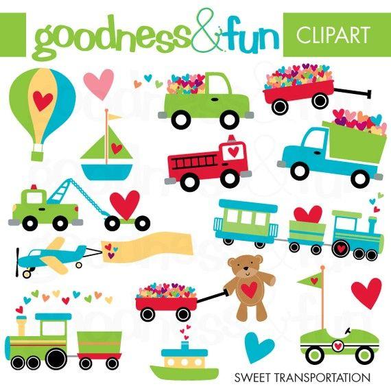 Sweet Transportation Clipart Digital By Goodnessandfun On Etsy Clip Art Valentines Day Clipart Digital Clip Art