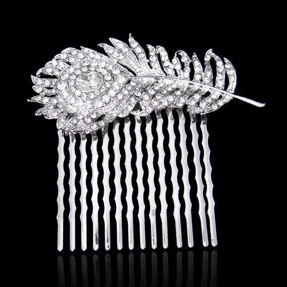 Swarovski Crystal Wedding Hair Comb, Luxury Peacock Feather Rhinestone Hair Comb, Hair Accessories, Bridesmaid Jewelry-151431774