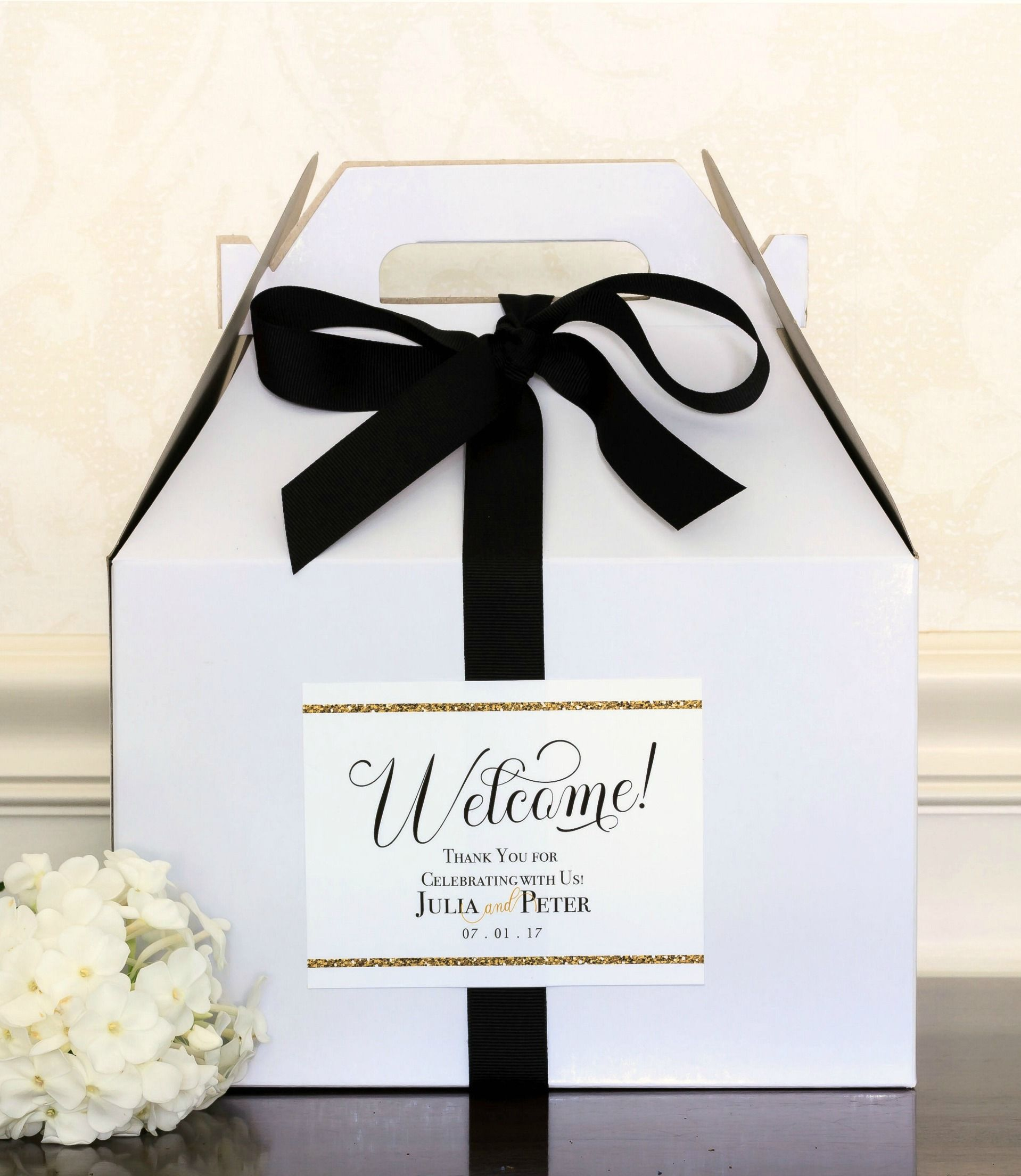 Gold Glitter Wedding Welcome Bag Labels. Personalized Welcome ...