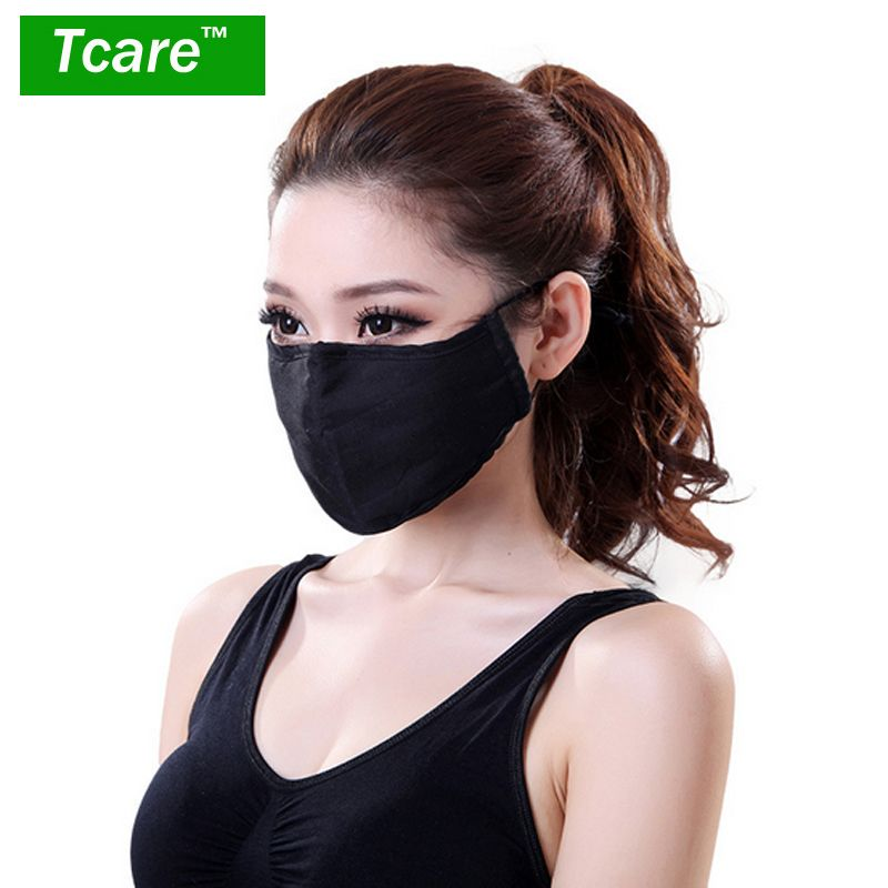 Workplace Safety Supplies 100% True Black Mouth Mask Anti Dust Mask Activated Carbon Filter Windproof Cotton Pm2.5 Mouth-muffle Bacteria Proof Flu Face Masks Care
