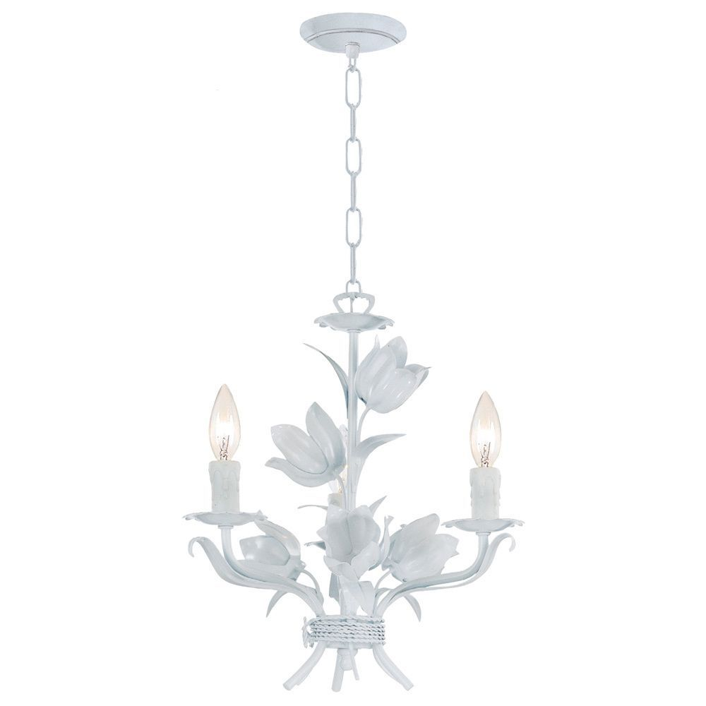 Crystorama southport collection 3 light wet white chandelier black iron