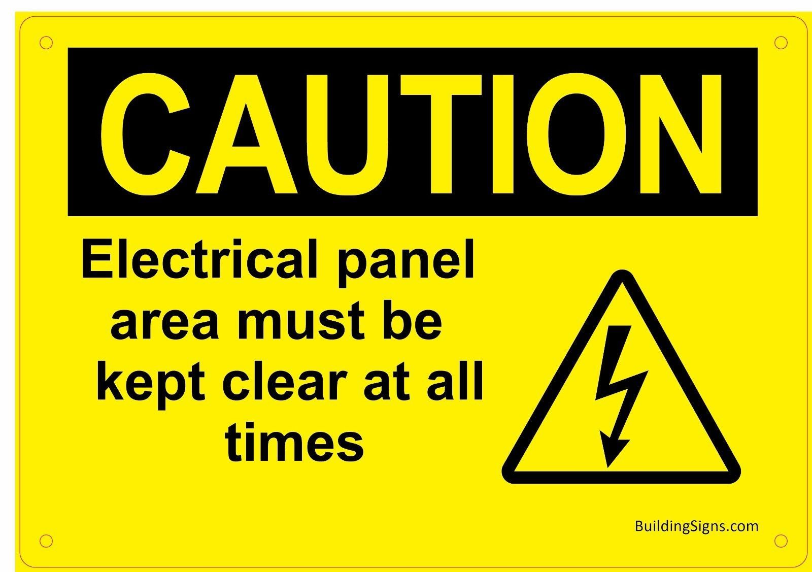 Details about Caution Electrical panel area must be kept