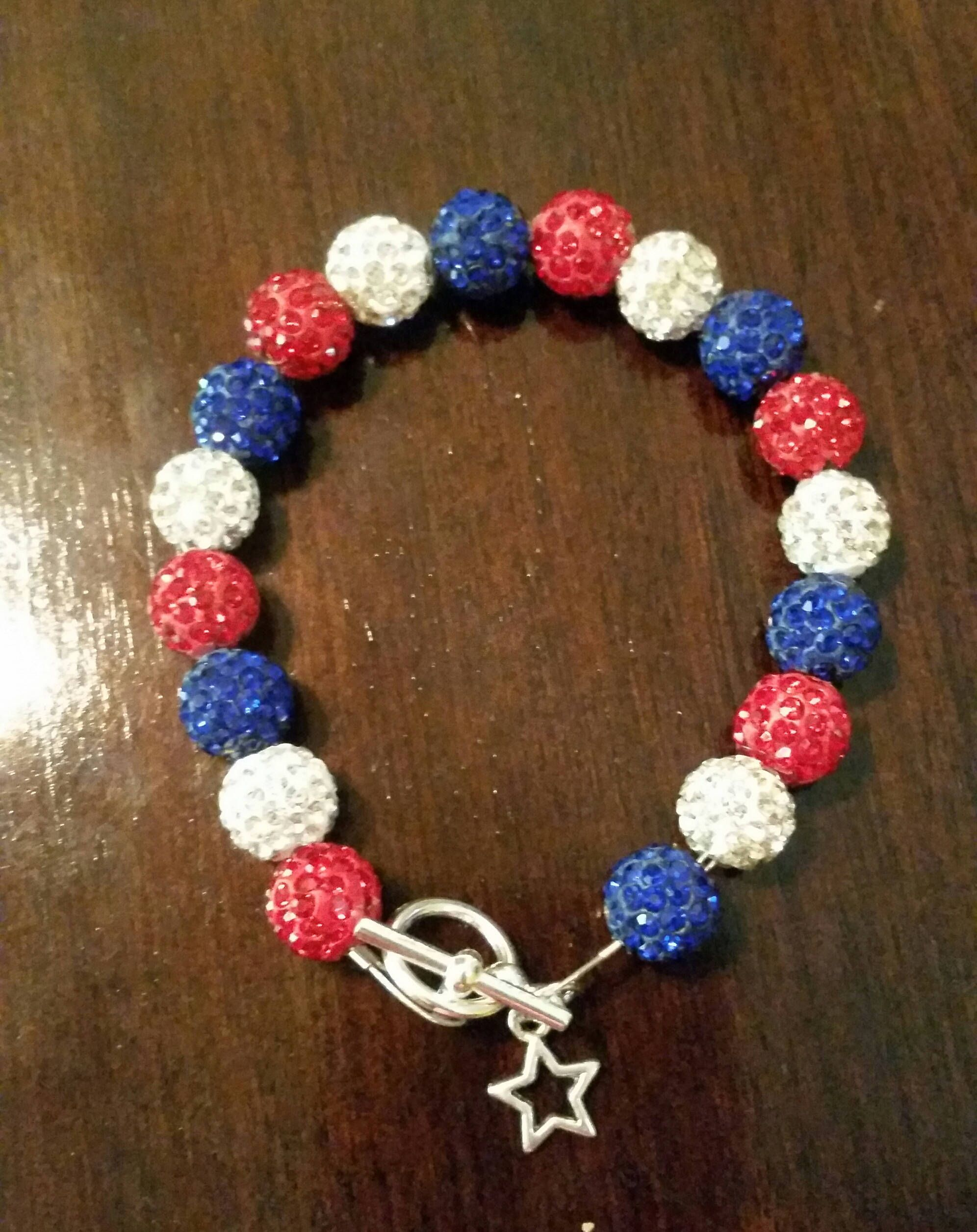 Patriotic Bracelet With Star Charm By Daisycreekcreations On Etsy