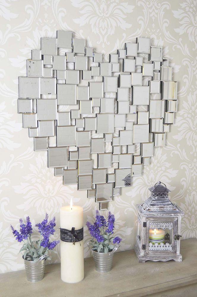 2ft8 80cm New Large Stunning Contemporary Heart Shape Frameless Wall Mirror