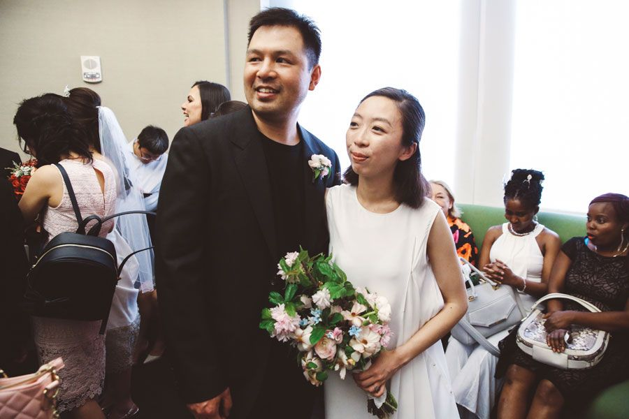 wedding ceremony new york city%0A Xiaofei and Victor City Hall Wedding   L u    L Style Photo
