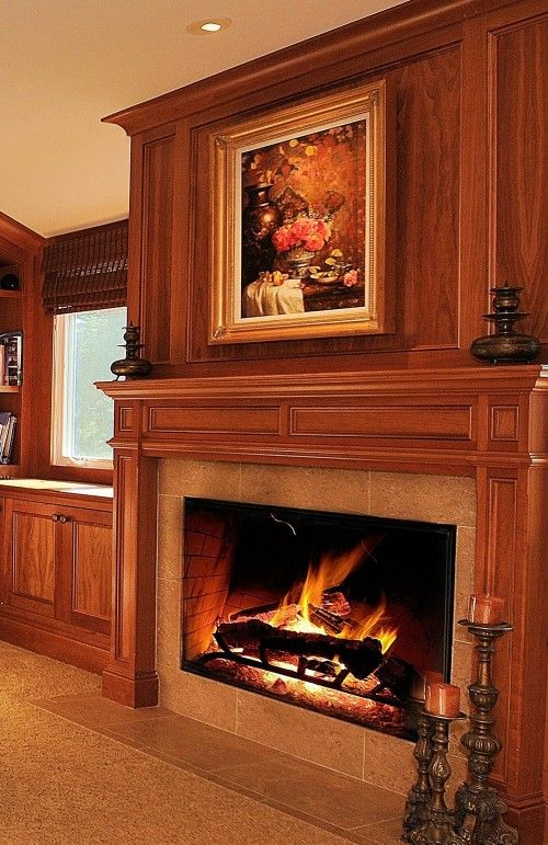wood panelling and surround in white family room ideas rh pinterest nz