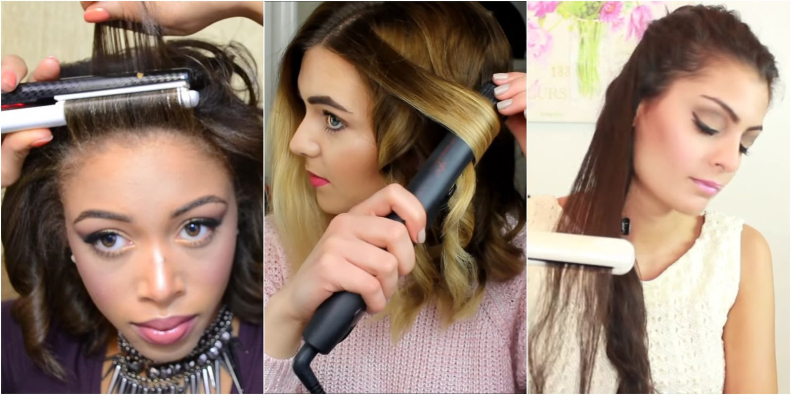 how to curl with a flat iron long hair