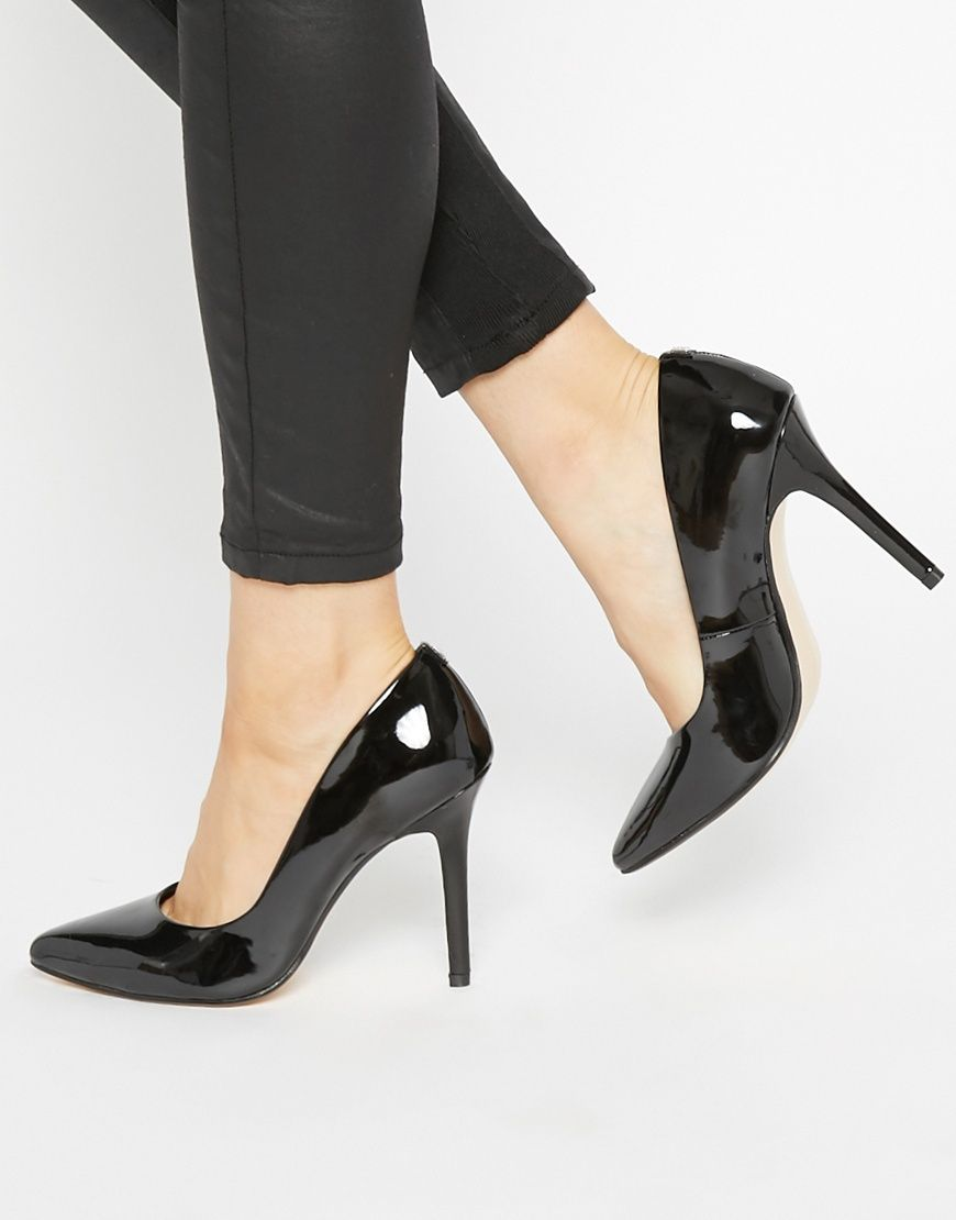 Buy Women Shoes / Faith Callaways Black Patent Heeled Court Shoes