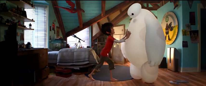 """Hiro Hamada says to Baymax as he tries to push him out of the way, """"It's okay."""""""