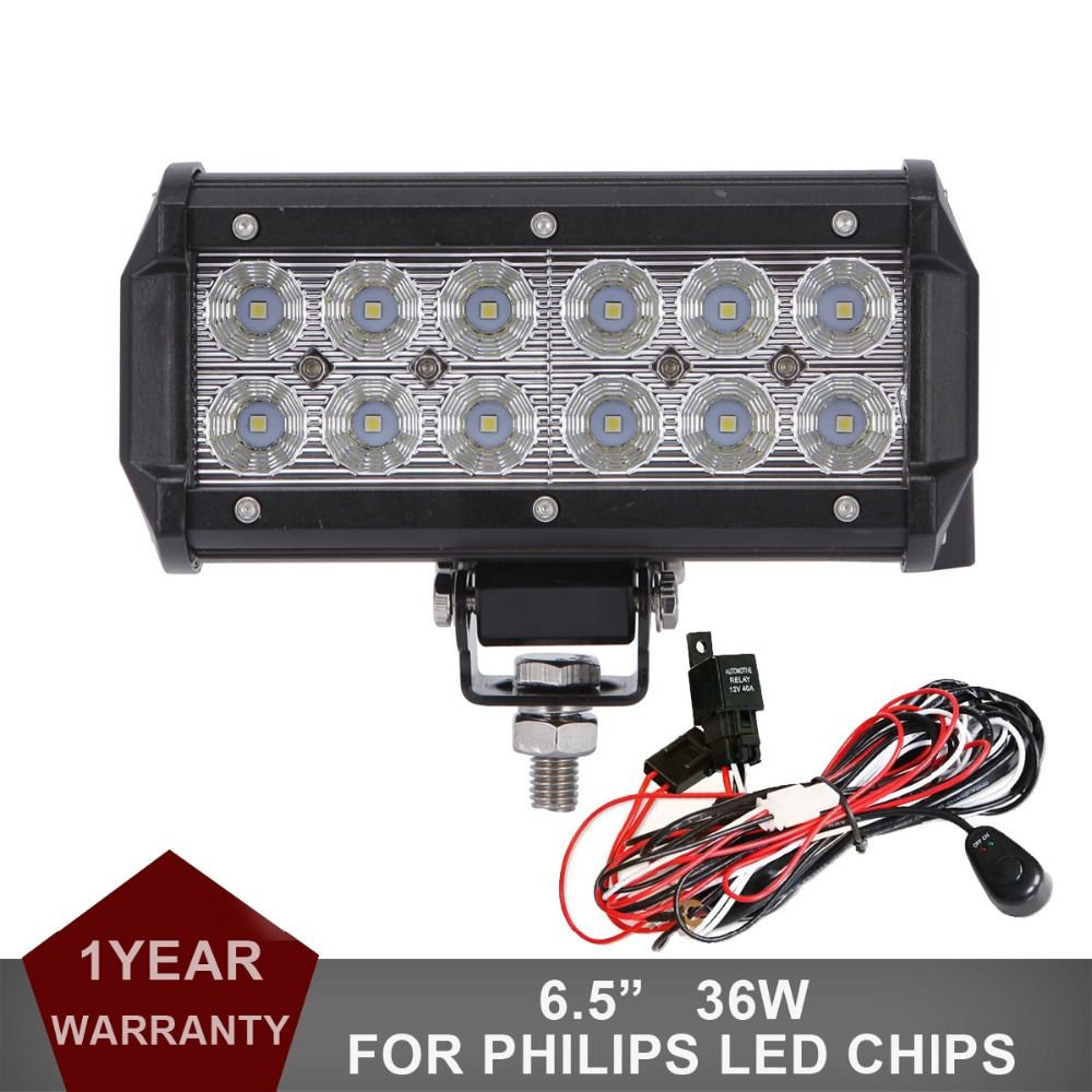 36w offroad led work light bar auto 4wd truck trailer atv boat rh pinterest com