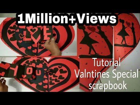 Tutorial (Valntines Day Special Black n Red Heart Shape scrapbook )ArtsHub Handmade s - YouTube