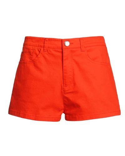 Red Cotton High Waist Hot Pants @yoyomelodydress