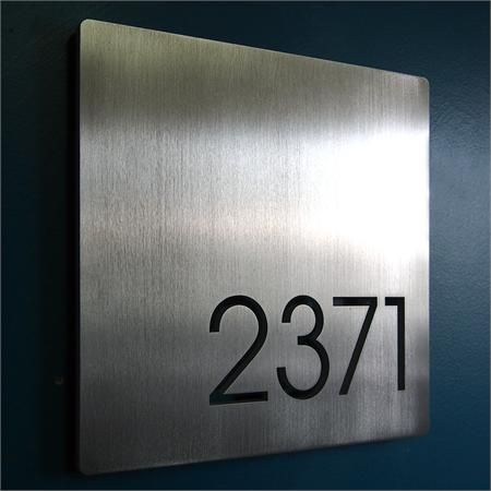 Custom Minimalist Square House Number Sign In Aluminum Contemporary House Numbers House Number Sign House Numbers