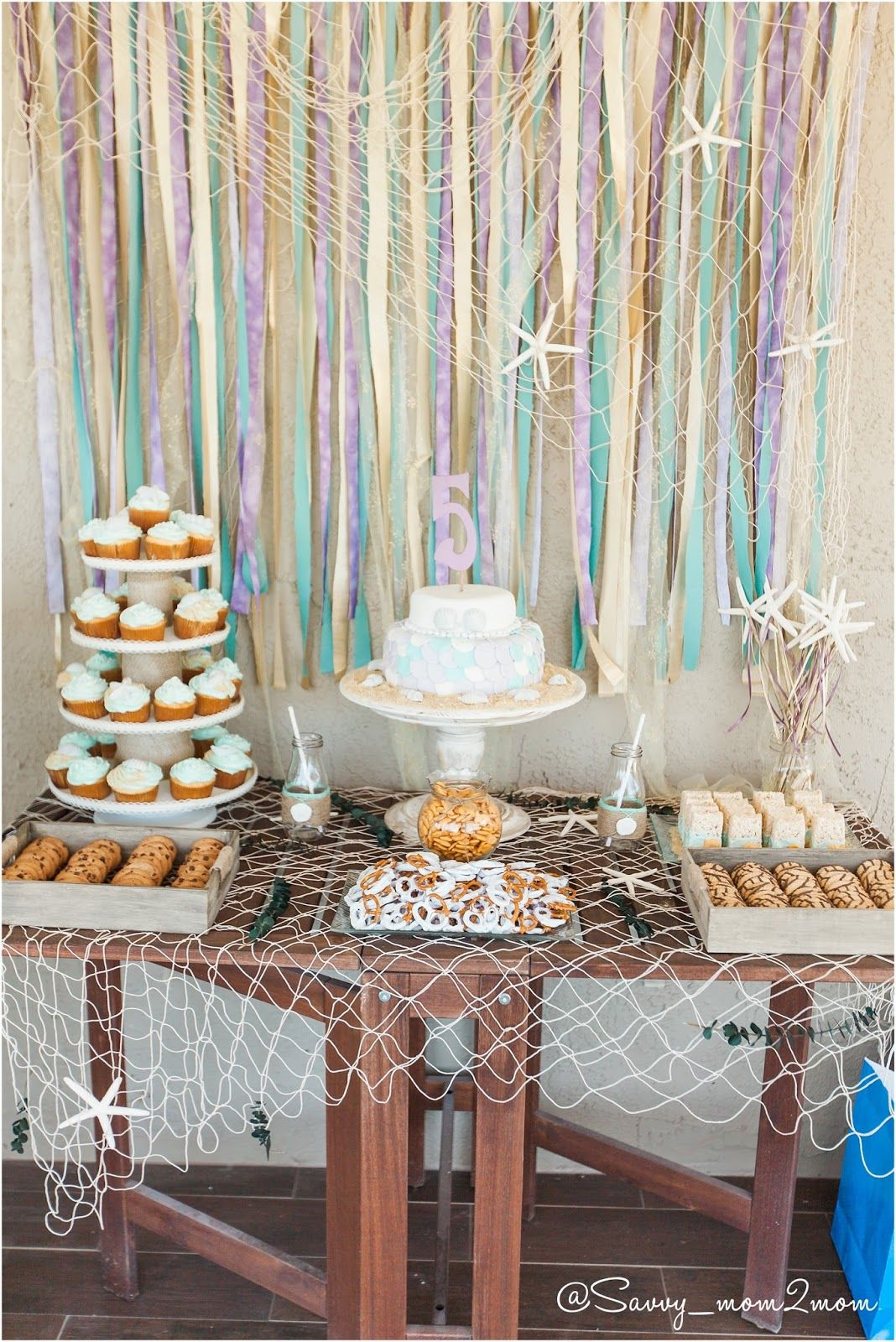 under the sea mermaid party ideas cake table backdrop vintage rh pinterest com