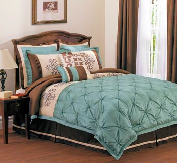 Luxurious aqua blue ivory and chocolate brown bedroom with dark walls  pintucked embroidered comforter set