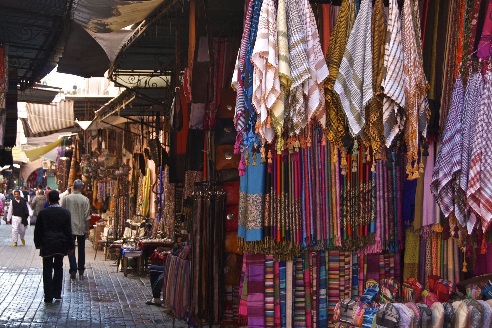 https://flic.kr/p/e7xgFz | Garment Stall, Marrakech Souk | This is typical of the many souks to be found in the Medina section of Marrakech, Morocco