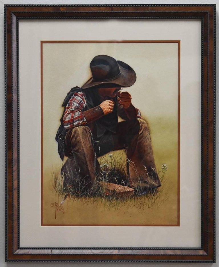Bob Moline Chow Time Western Texas Cowboy Painting Figure