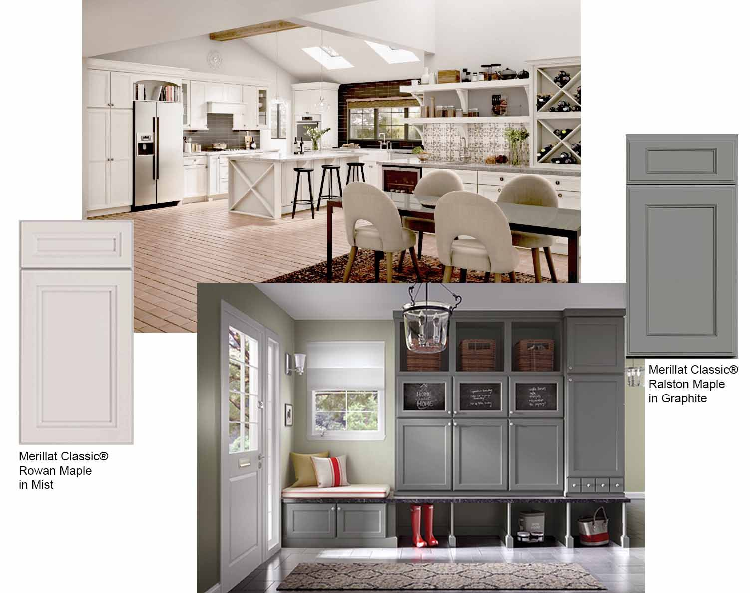 Merillat Classic Now Available In Two New And Sophisticated Finish Colors Mist And Graphite Elegant Merillat Kitchen Cabinets Merillat Cabinets Room Design
