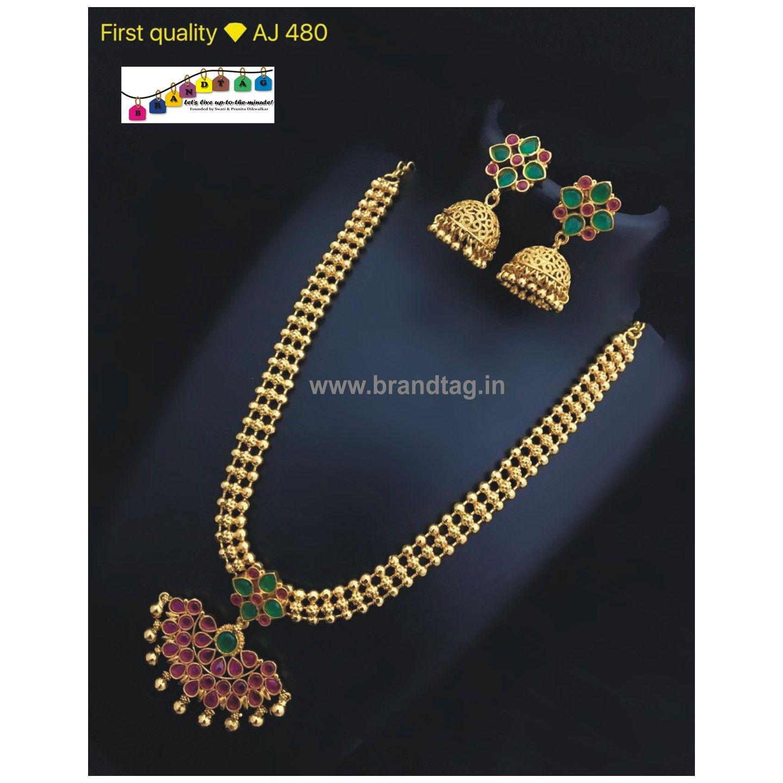 Royal golden necklace set full goldentriangular shaped pendant