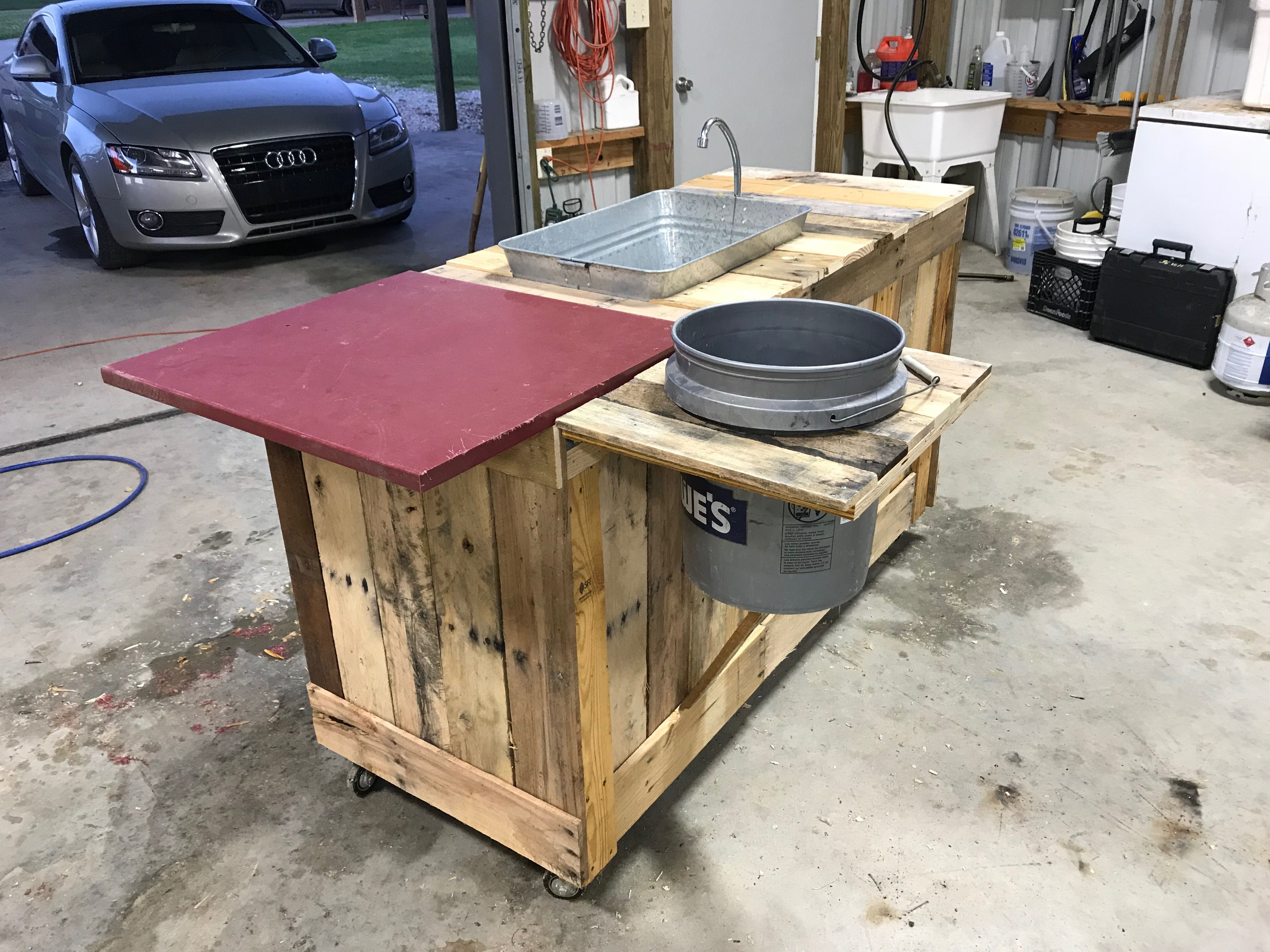 Pallet Wood Fish Cleaning Table Fish Cleaning Table Fish Fillet Table Fish Cleaning Station
