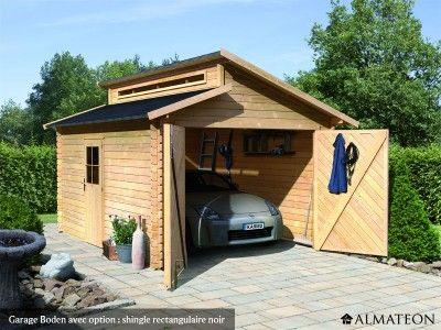 Garage Boden en bois du0027épicéa pour 1 voiture, 1462 m², épaisseur 28 - prix d un garage en bois