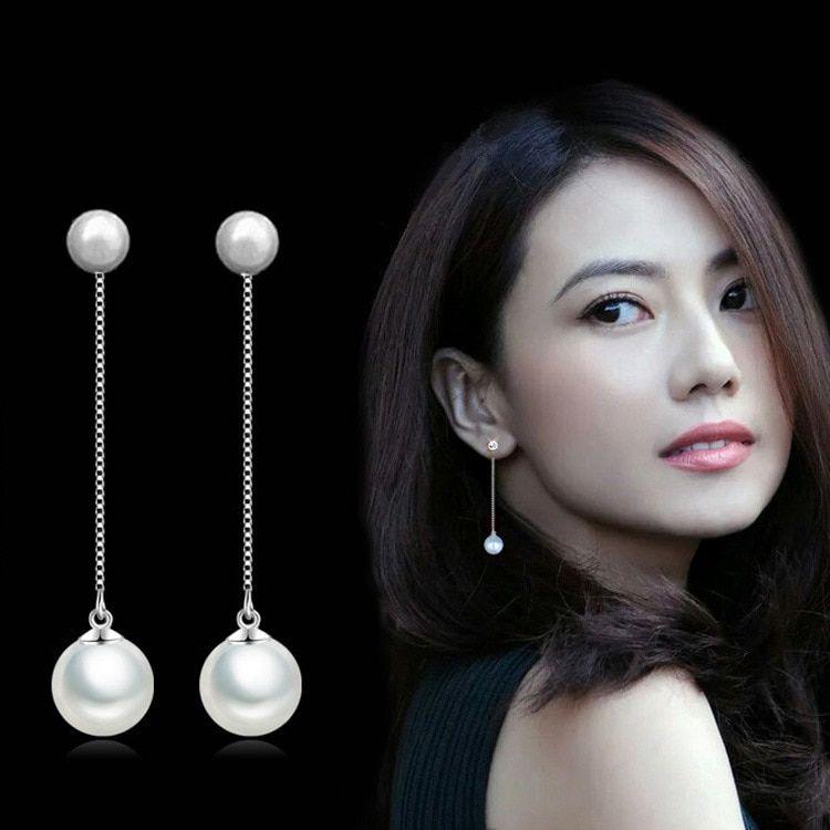 3a3d204f69e32 Fashion Silver Earrings Double Artificial Pearl Earrings Long ...