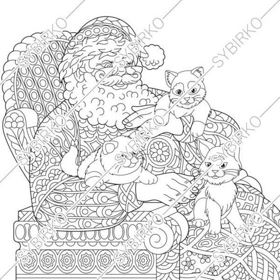 Coloring pages for adults. Santa Claus. Christmas coloring ...