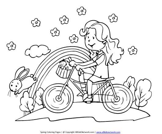 girl on bike coloring page | Season Acitivies for my day care ...