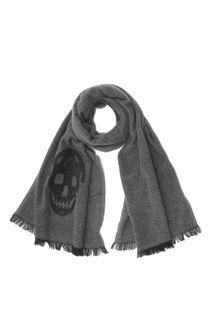 Graphite/Black Agugliato Skull Wool Scarf