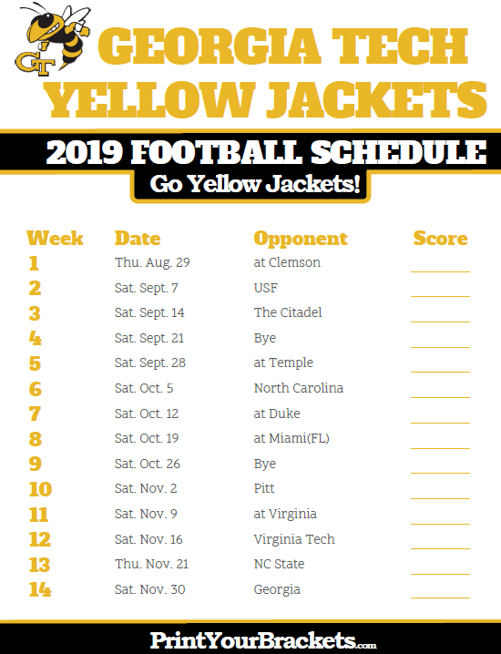 Clemson Football Schedule 2020 Printable
