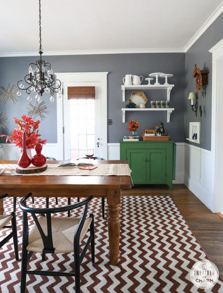 use shelving to turn a simple side table into a display on 80 Decorate Your Dining Room id=49111