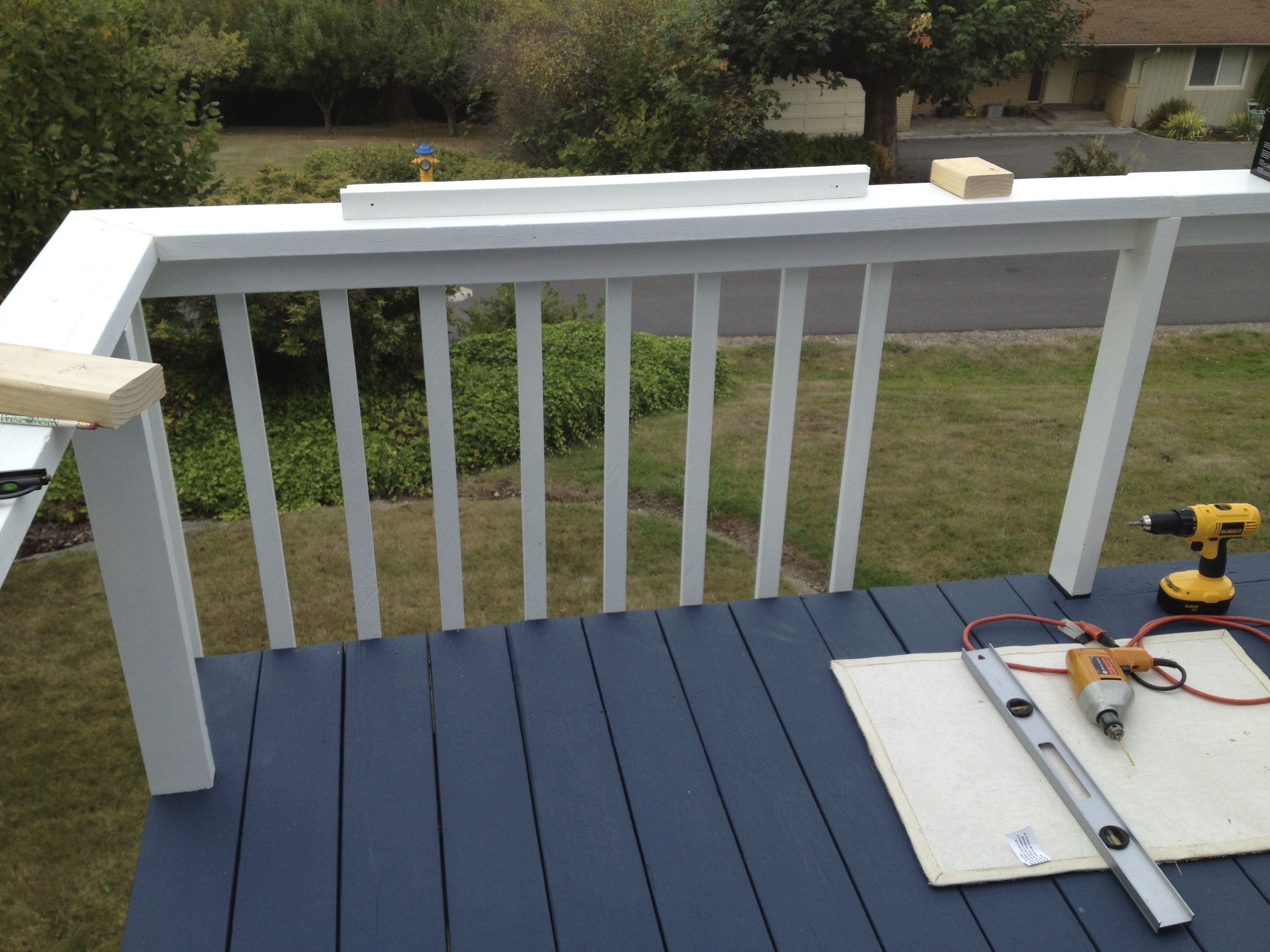 We chose the atlantic color because our house is gray and for Behr deckover