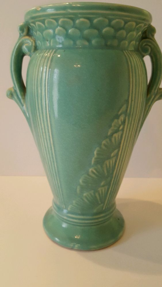 Vintage Green Vase Beautiful Pattern And Handles Possible Brush