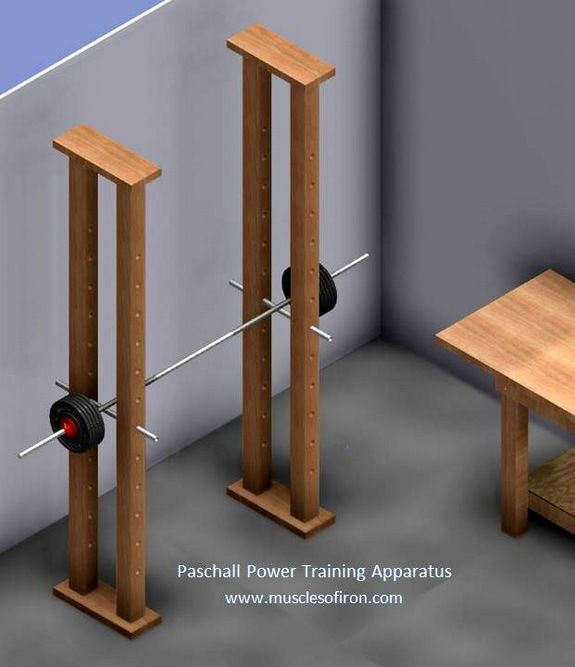 Depiction of paschall 39 s power training apparatus shown for Diy squat stands