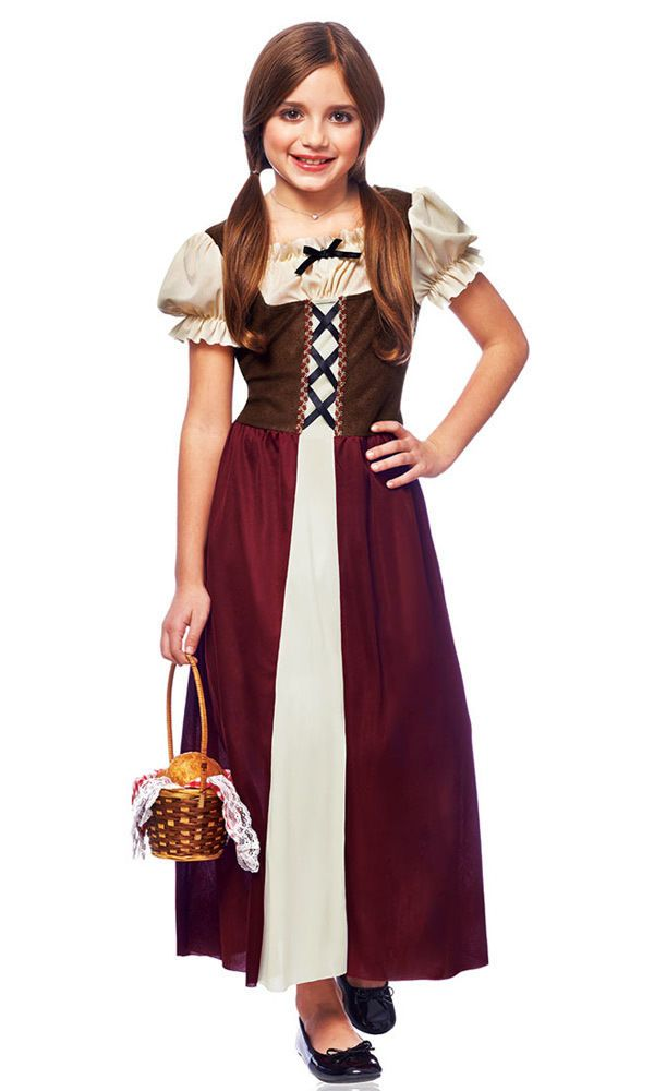 renaissance medieval peasant girl child kids halloween costume fancy dress 49463 - Gir Halloween Costumes