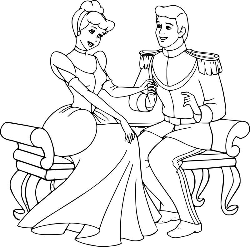 Cinderella And Prince Charming Staying Talking Coloring Pages Em